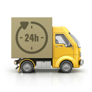 24 hour delivery service van icon