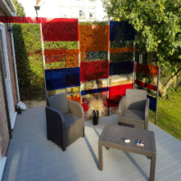 translucent acrylic makes garden feature