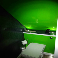 lime acrylic adds a splash of colour to cloakroom