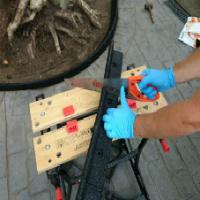 Flexi-edge is easy to cut with a standard hand saw