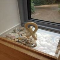 Clear acrylic protects windowsill display