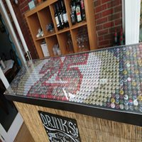 decorative bar top protected with acrylic
